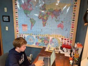 Garrett at His Desk
