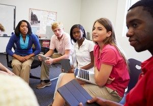 High School Students Taking Part In Group Discussion