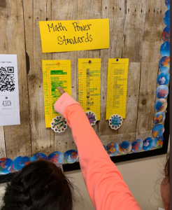 Students Pointing To Bulletin Board Showing Progress on Standards