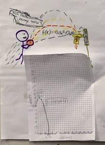 Cartoon Basketball Player and Parabolas