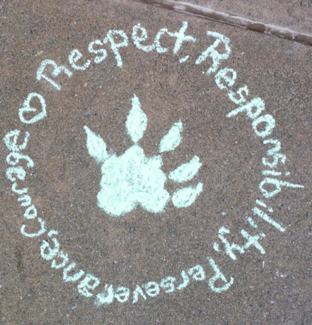Chalk Drawing of Four Rivers Character Virtues