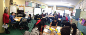 Collaborative work on projects at Flushing International High School.