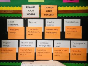 A bulletin board at North Queens Community High School focuses on the power of growth mindset