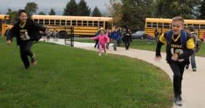 Students Running Toward School