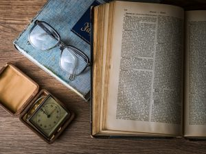 glasses, book and watch for studying