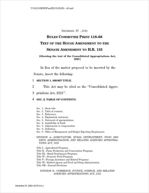December 2020 federal COVID-19 relief bill